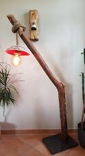 Designer Stehlampe aus Ast/Holz+Seil Handarbeit Unikat m. Glühlampe ca.160cm