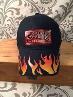 A C M E A.C.M.E. ACME Promos Flames Baseball Hat Cap Snapback Rare HTF  #364