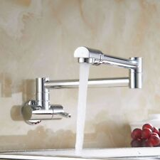 Chrome Wall Mounted Swivel Pot Filler Kitchen Faucet W/Double Joint Swing  Arm