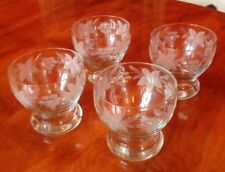 Four Vintage  Engraved Glass Trifle/Sundae Dishes - Excellent condition