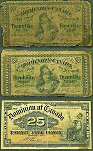 3 - Antique Canadian Currency 1870. 1877, 1900 Circulated 617  lot of (3) Items