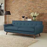 Mid-Century Modern Upholstered Fabric Living Room Sofa in Azure