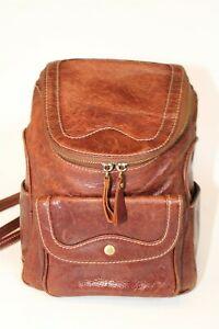 Handcrafted Womens Petite Thick Natural Leather Backpack Daypack Carrier Bag