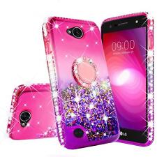 LG X Charge/Fiesta 2 Liquid Glitter Phone Case for Girls Women Ring Stand Pink