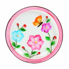 Village Candle 12cm Pink Floral Hand Painted Candle Plate