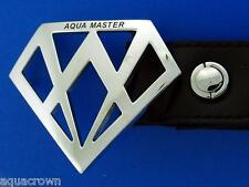 Aqua Master Men's Genuine Black Leather belt Logo Large size 45-46