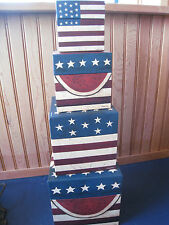 STACKING NESTING BOX SET/4  AMERICA PATRIOTIC FLAG WATERMELLON Warren Kimble