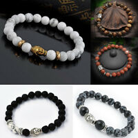 Handmade Mens Lava Rock Bracelet Natural Gemstone Beads Buddha Head Beaded