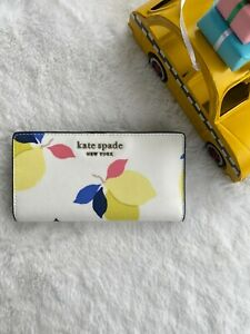 NWT Kate Spade Cameron Lemon Zest Large Slim Bifold Wallet White Multi New