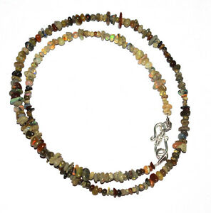"Ethiopian Opal 4-6 mm Uncut Beads Gemstone 925 Fine Silver 19"" Strand Necklace"