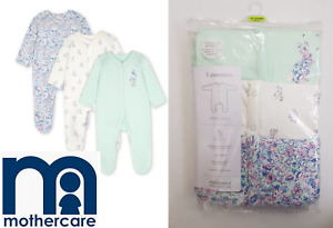 Mothercare Baby Girl 3 Pack Floral Bunny Rabbit Sleepsuits Tiny N/B 0 1 3 Month