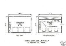42 x 30 3 Car Garage with 10 ft interior Ceiling & Walk-up Loft Building Plans