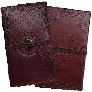 "9"" Handmade Real Leather Embossed Stone Diary Journal Sketchbook Handmade Paper"
