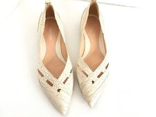 Sergio Rossi Women's Leather Flats Pointed Toe Stitched Ivory Shoes Size 39/8.5