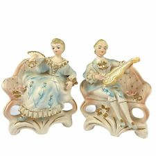 Tilso Japan Ceramic Couple Sitting w/ Fan  and Violin Hand Painted 53/191