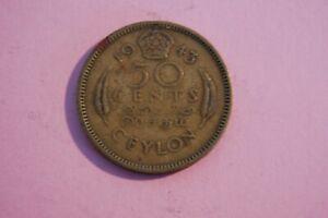 CEYLON - 1943 FIFTY CENT (50C) GEORGE VI CEYLON NICKLE-BRASS COIN