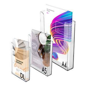 A4 A5 DL leaflet postcard brochure holders wall mount dispenser display clear