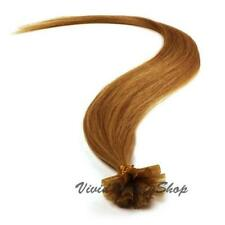 100 Pre Bond U Nail Glue Tip Straight Remy Human Hair Extension Golden Brown #10