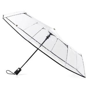 Totes Ultra Clear Auto Open Folding Umbrella Black - 8415