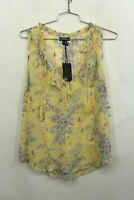 Paige Womens Alma Floral Silk Top Sheer Yellow V Neck Tassel Ties 100% Silk