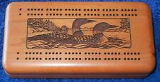 Nice Solid Wood Carved Ducks Velvet Lined Cribbage Set  & MGM Grand Casino Cards