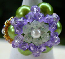 Bague fleur en perles de rocaille et perle de culture artisanat Indonésie Bali