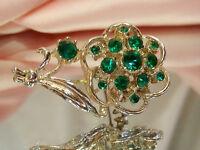 XX Pretty Vintage 1950's Green Rhinestone Flower Brooch  2476s