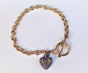 Juicy Couture Pink Pave Crystal Puffed Heart Charm Wish Link Bracelet