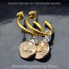 925 Fine Silver Hoop Earrings W/ Horse Charm 24k Gold Vermeil Omer Hammered Work