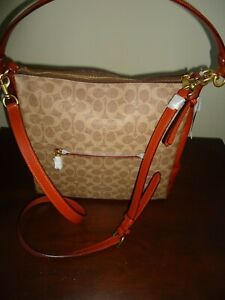 Coach Signature Coated Canvas Shay  Tan/Rust  NWT