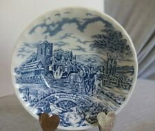 """Royal Wessex England Blue Cottage Carriage Coach Horses Cereal Fruit Bowl 6.25"""""""
