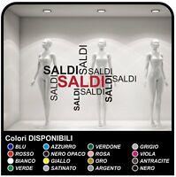 Adesivo Scritte SALDI Vetrofanie Allestimento Vetrine Stickers Design adesivi
