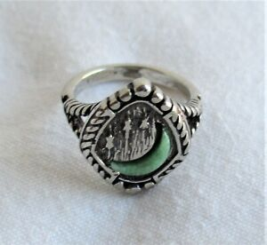 Dealer Lot of 50 – Silver & Green Turquoise Crescent Moon Rings * New