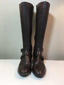 Nine West 'Blogger' Brown Leather Criss Cross Strap Riding Style Boots Size 7 M