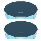 Bestway Round PVC 12 Foot Pool Cover for Above Ground Pro Frame Pools (2 Pack)