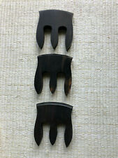 (3) Ebony 3 Prong String Bass Mute, Flat Model, Vintage Nib