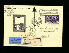 Switzerland 1926 Airmail RARE IMPERF Vignette w Engravers mark  on official card