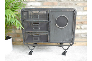Industrial 1 Door Metal Cabinet 3 Draw Retro Vintage style Storage Furniture.