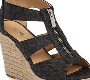 New Michael Kors Damita Espadrille Wedge Sandal black platform Mini MK logo zip