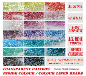 VaR Rainbow Inside Colour Lined Round Glass VIVI Seed Beads Japan MGB Craft DIY