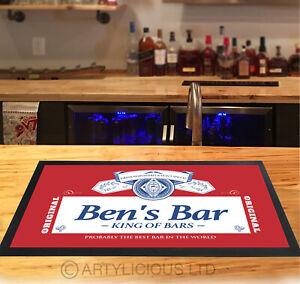 Personalisiert Barmatte Rot Bier Label Kneipen & Cocktail Bars Hausbar Matte