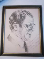 "VTG U.S. SENATOR VANCE HARTBE CHARCOAL ETCHING DRAWING/SIGNED -11"" X 9"" FRAMED"