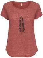 37/28 NEU ONLY Damen T-Shirt Top Oberteil Pailletten Feder kurzarm Gr. M 38 rot