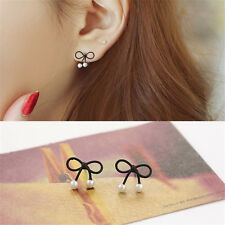 Women Cute Pearl Butterfly Bow Knot Stud Earrings Fashion Jewelry Korean Style
