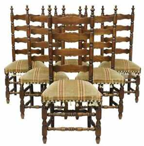 Antique Chairs, Dining, Ladder Back, Set of Six,French Provincial, Upholstered!