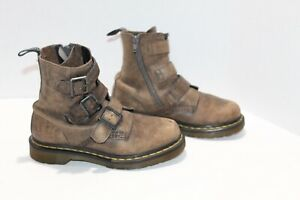Dr Doc Martens Blake Leather Boots Combat Brown 3 Buckle Women's Size 6