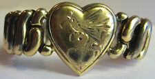 *Antique Gold Wash Song Bird On Heart Expandable Stretch Sweetheart Bracelet*
