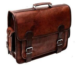 Vintage Goat Leather Messenger Shoulder Laptop Office Briefcase Cross Body Bag