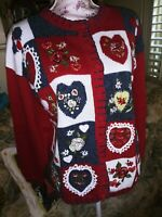 Vtg Heirloom Collectibles Cardigan Sweater Embellished Hearts & Flowers Red M