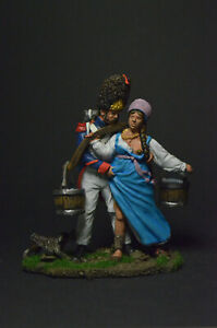 Tin soldier figure Peasant Woman and Old Guard Grenadier 1812 54 mm